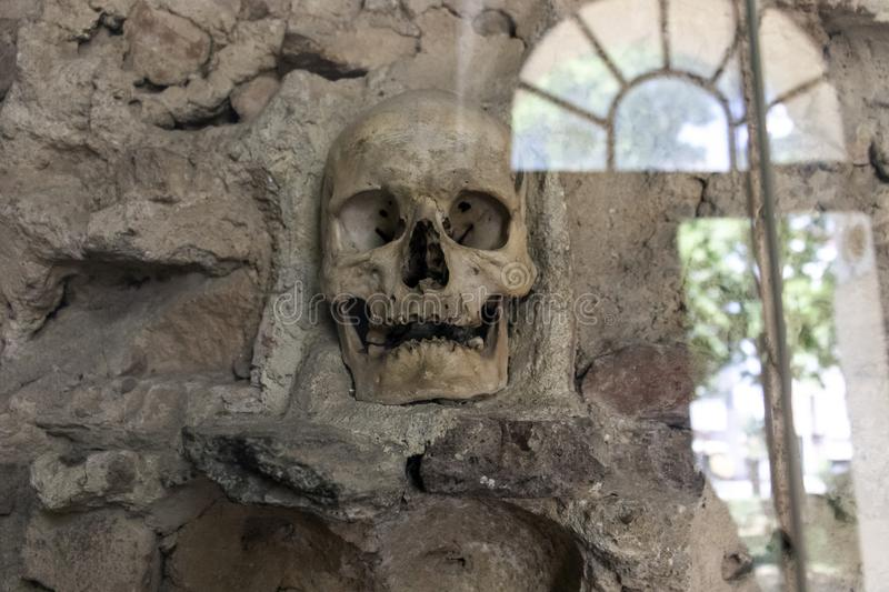 The Skull Tower Cele Kula- built from the 3000 skulls of dead Serbian warriors after Uprising in 1809 in City of Nis, Serbia. VCiew of the Skull Tower Cele Kula stock photo