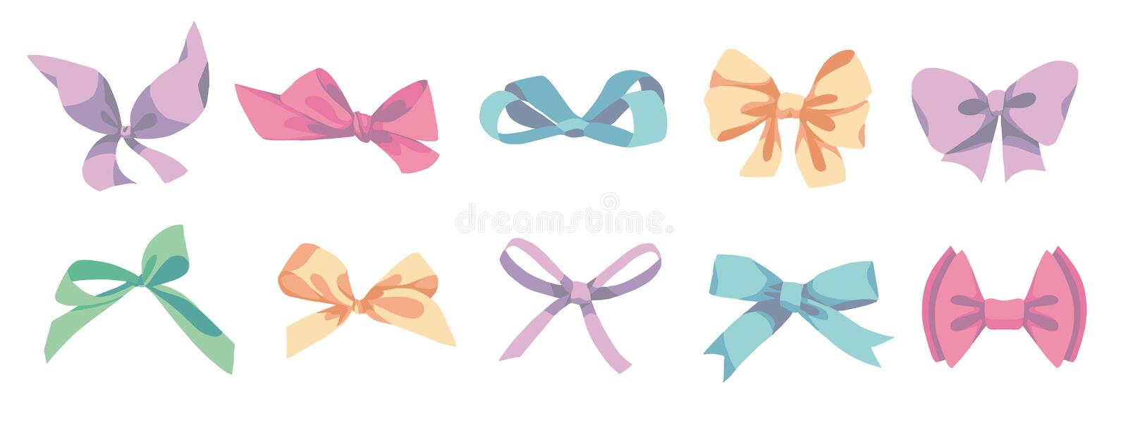 Vctor drawings of different shaped colorful cartoon style ribbons royalty free illustration