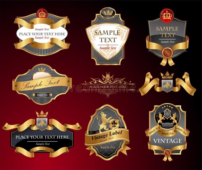 Vctor lyxetiketter royaltyfri illustrationer