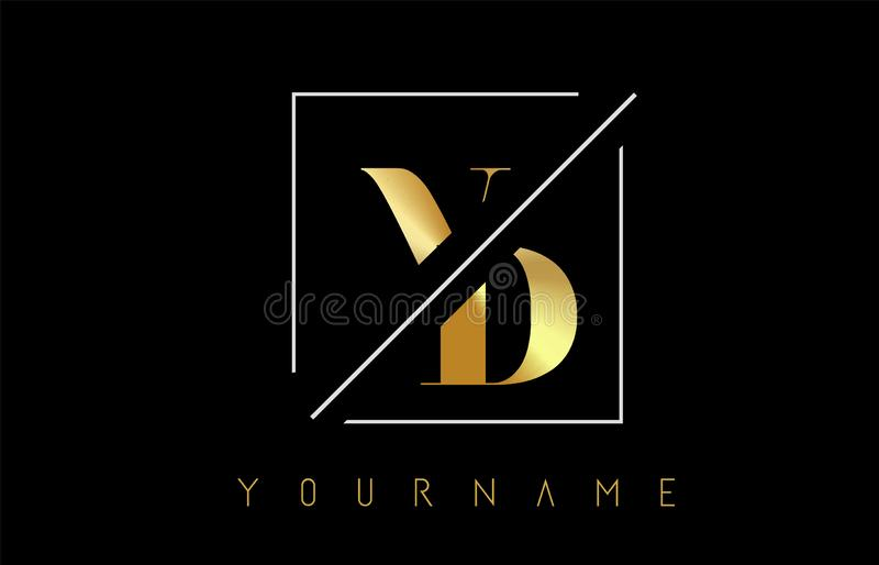 VD Golden Letter Logo with Cutted and Intersected Design. And Square Frame Vector Illustration royalty free illustration