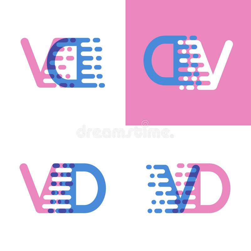 VD marque avec des lettres le logo avec le rose et doucement le bleu de vitesse d'accent doucement illustration de vecteur