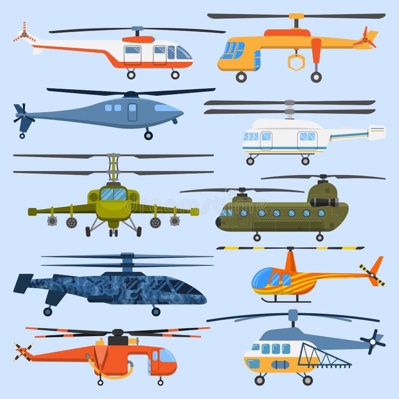 Veículo aéreo da hélice do transporte aéreo do helicóptero que voa o vetor civil militar dos aviões do helicóptero da aviação mod ilustração do vetor
