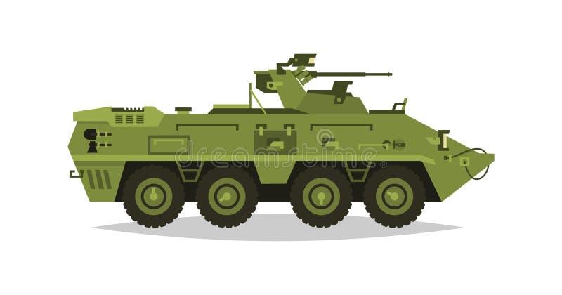 Veículo da infantaria blindada Exploração, inspeção, revisão ótica, armadura, proteção, arma, munição Equipamento para a guerra O ilustração royalty free