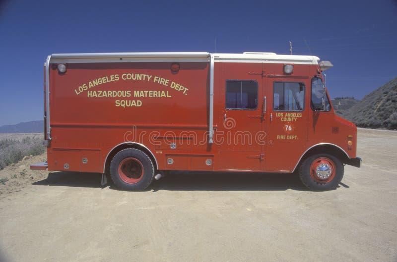 Veículo dos materiais perigosos do condado de Los Angeles fotos de stock