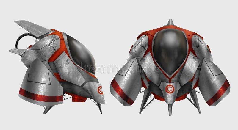 Veículo futurista da nave espacial do metal ilustração royalty free