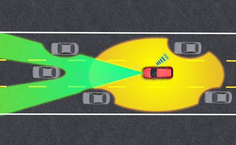 Veículo inteligente, piloto automático, veículo em modo autocondutor com sistema de sinal radar e comunicação sem fios imagens de stock royalty free