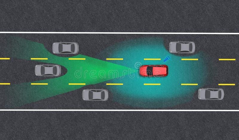 Veículo inteligente, piloto automático, veículo em modo autocondutor com sistema de sinal radar e comunicação sem fios fotos de stock royalty free