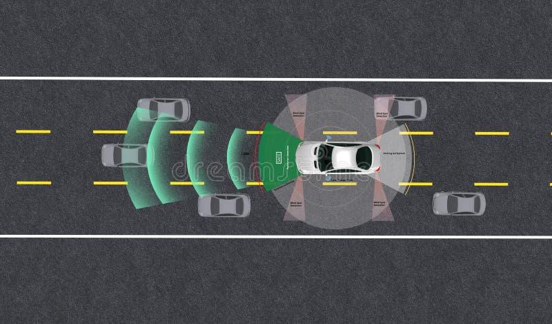 Veículo inteligente, piloto automático, veículo em modo autocondutor com sistema de sinal radar e comunicação sem fios imagem de stock