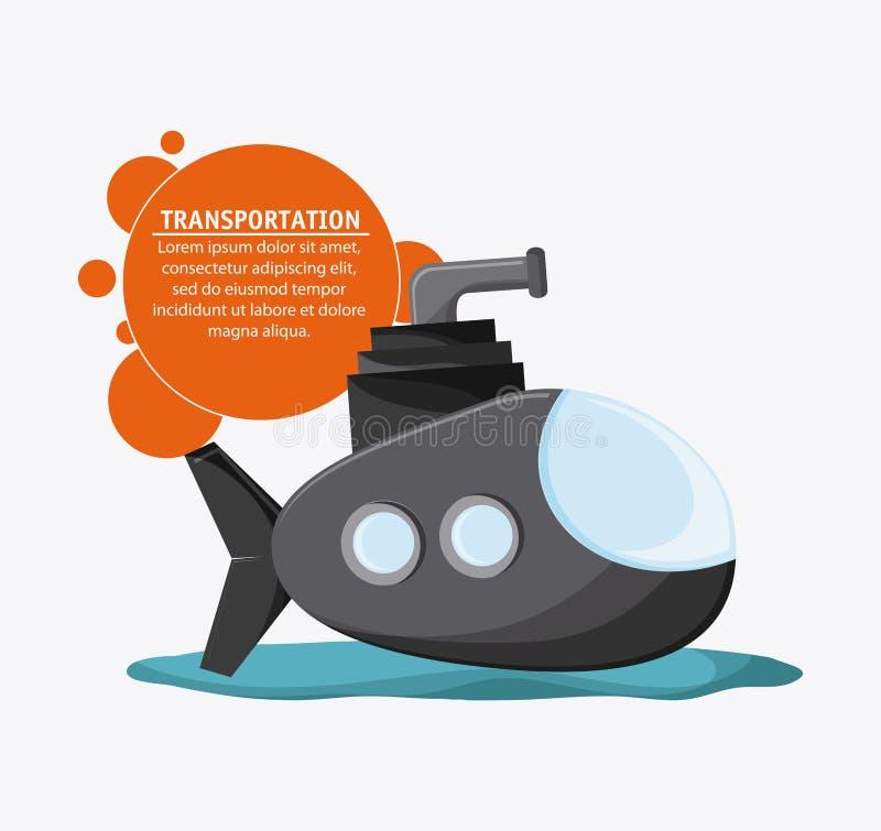 Veículo submarino do transporte, vetor ilustração stock
