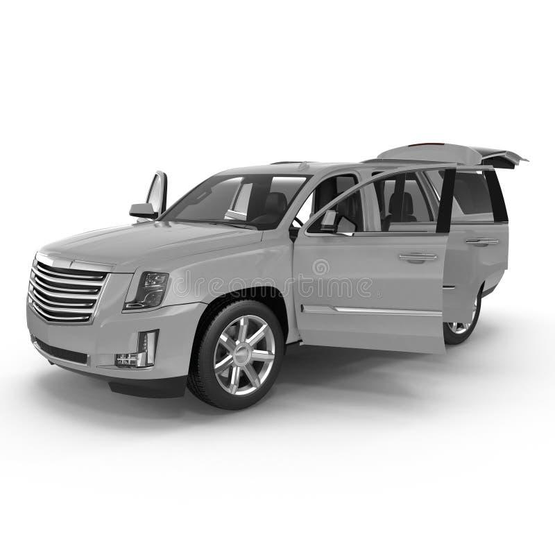 Veículo utilitário de esporte de prata isolado no branco Portas 3 de Dreamscape ilustração 3D ilustração do vetor