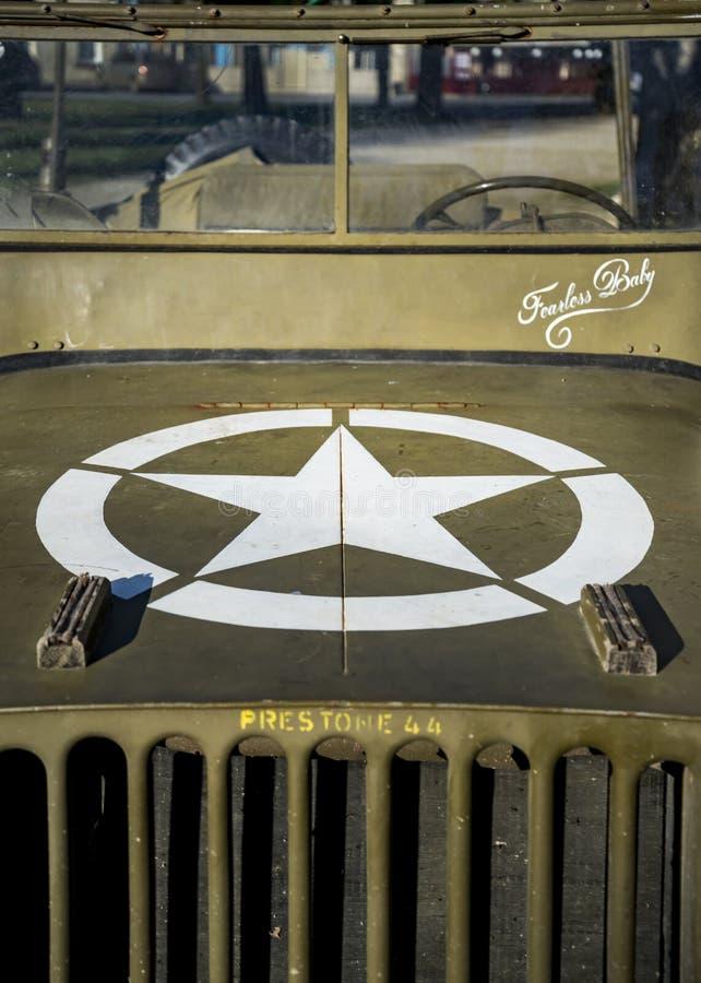 Veículo velho Collectible do jipe WW2 em Normandy França fotografia de stock royalty free