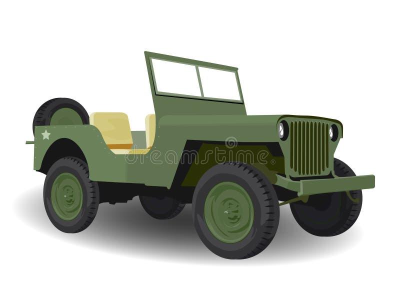 Veículo verde do jipe do exército ilustração royalty free