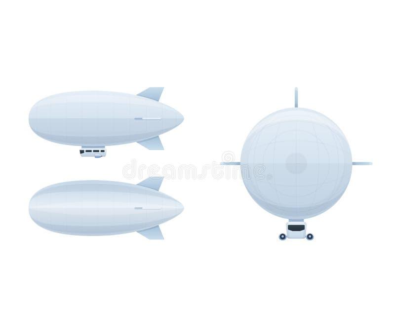 Veículos de ar modernos Aerostat do balão de ar em ângulos diferentes ilustração royalty free