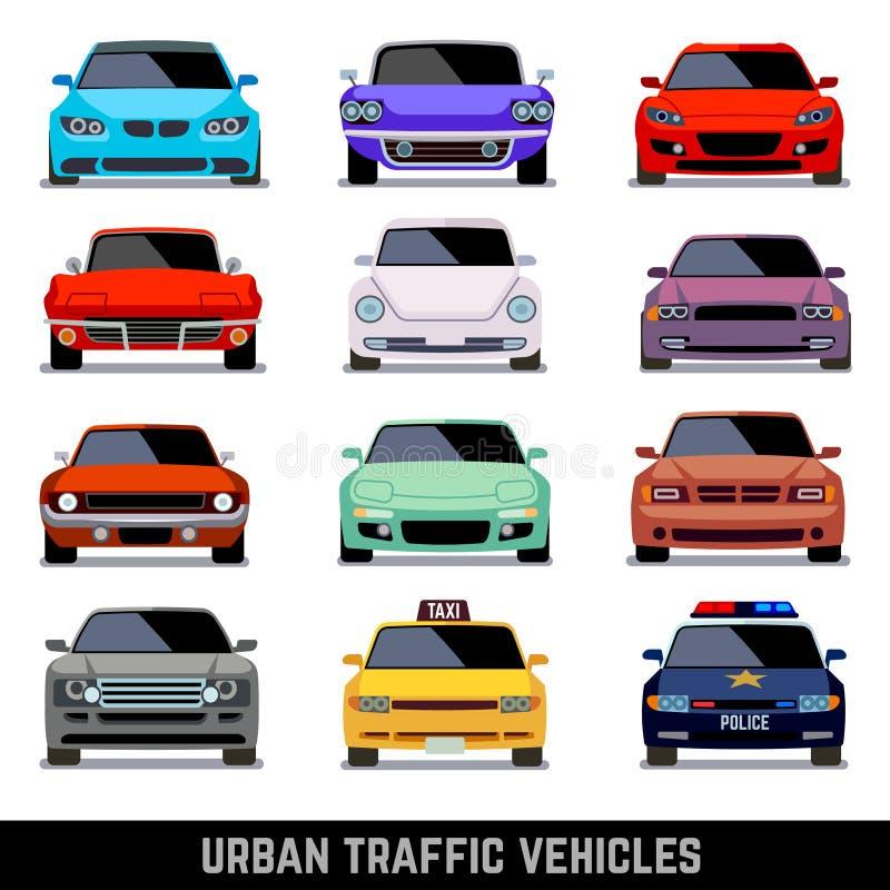Veículos do tráfego urbano, ícones do carro no estilo liso ilustração do vetor