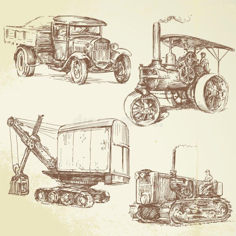 Veículos do trabalho do vintage ilustração royalty free