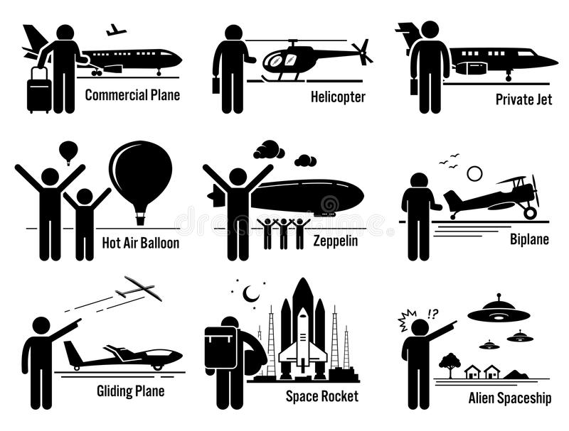 Veículos do transporte aéreo e povos Clipart ajustado ilustração do vetor