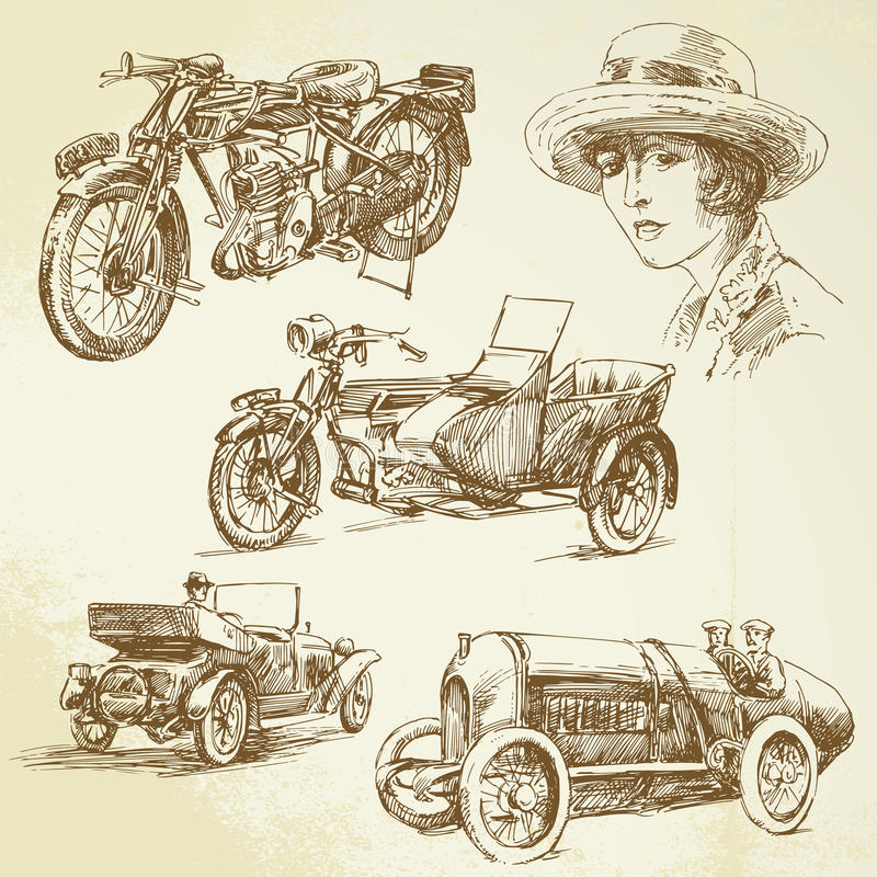 Veículos do vintage ilustração stock