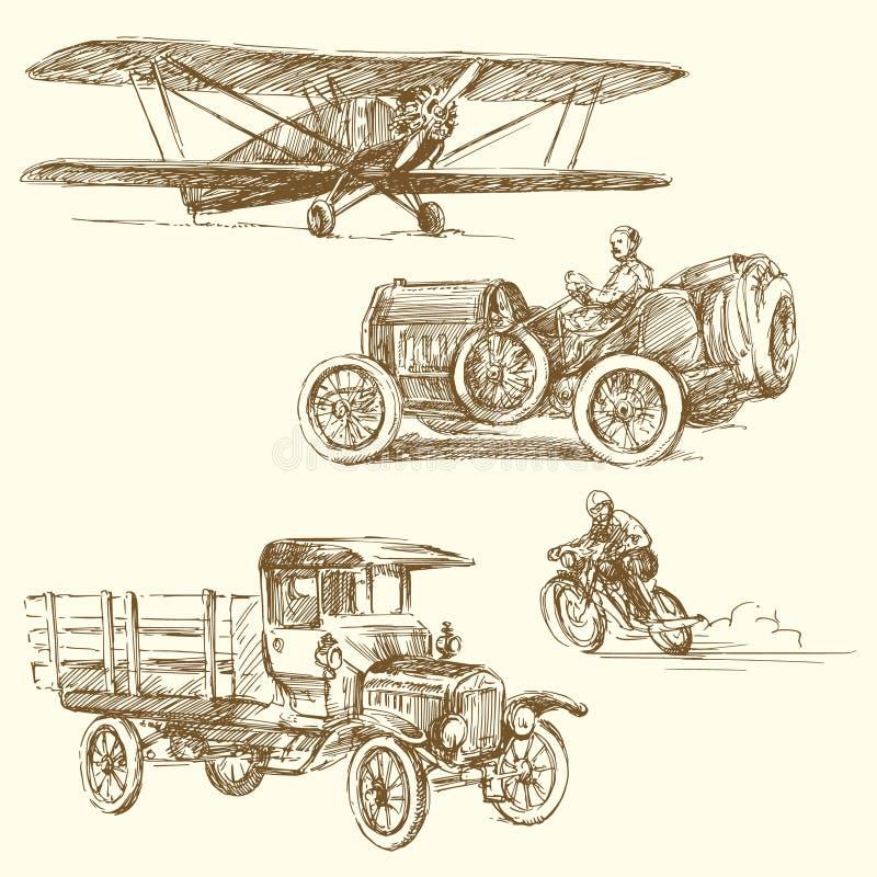 Veículos do vintage ilustração royalty free