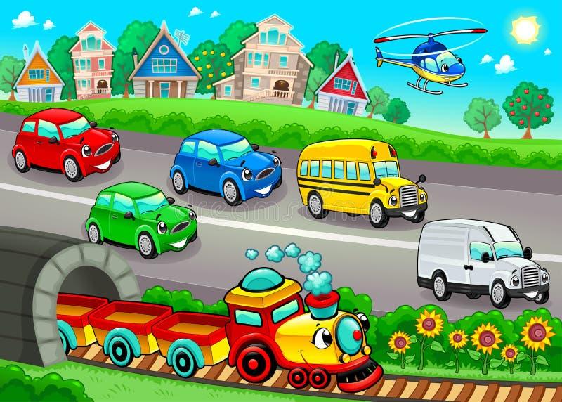 Veículos engraçados na cidade ilustração do vetor