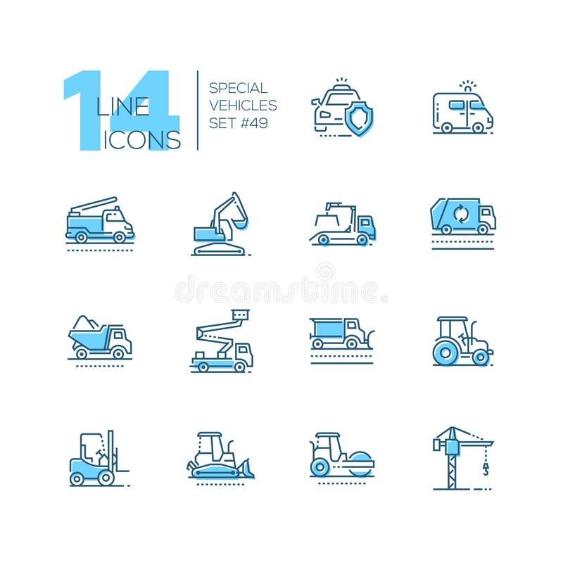 Veículos especiais - linha ícones azuis do projeto ajustados ilustração do vetor