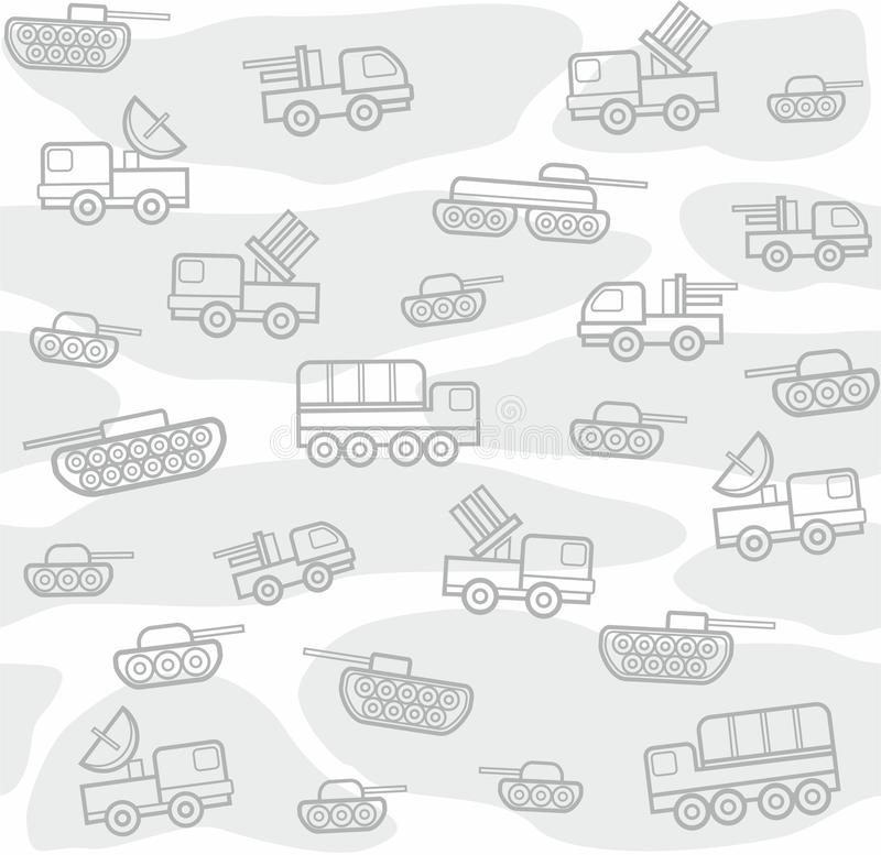 Veículos militares, fundo sem emenda, branco ilustração stock