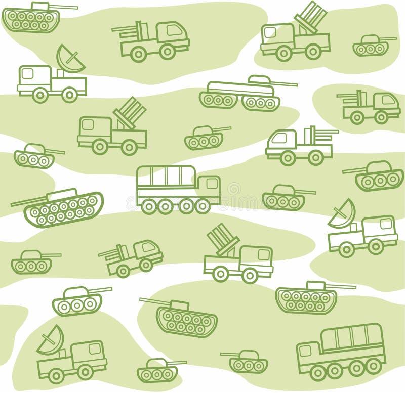 Veículos militares, fundo sem emenda, branco-verde ilustração stock
