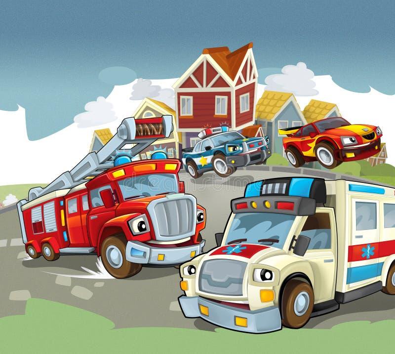 Veículos na estrada - caricatura ilustração stock