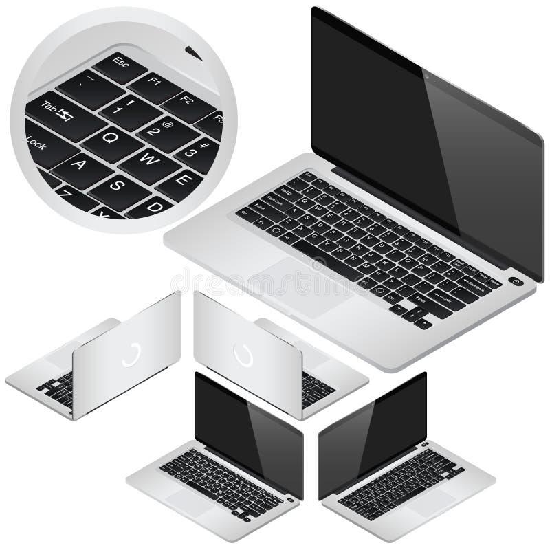 VeÑ  tor laptopu isometric ikony w cztery projekcjach Dla infographics lub isometric projekta royalty ilustracja