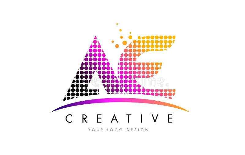 VE een Brief Logo Design van D met Magenta Punten en Swoosh royalty-vrije illustratie