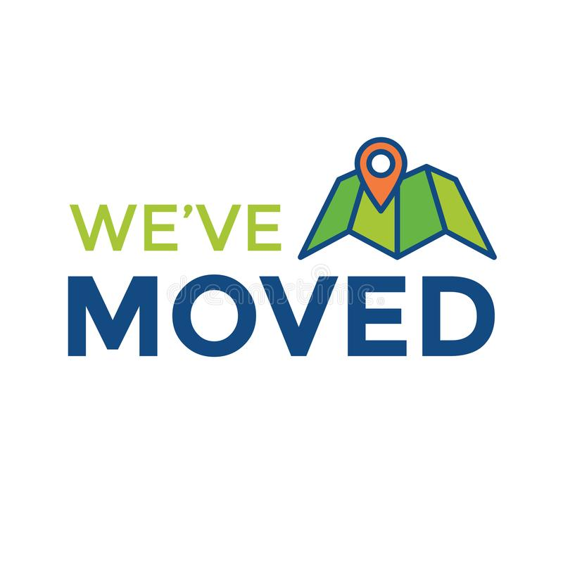 We`ve Moved Sign w Text Typography & icon to convey moving. We`ve Moved Sign with Text Typography and icon to convey moving vector illustration