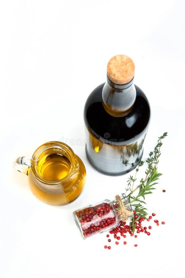 Ve olie, nam peper en wijn toe royalty-vrije stock foto