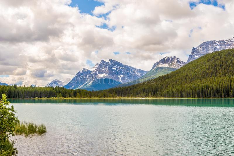 Vea en el lago waterfowl en el parque nacional de Banff - canadiense Rocky Mountains imagen de archivo