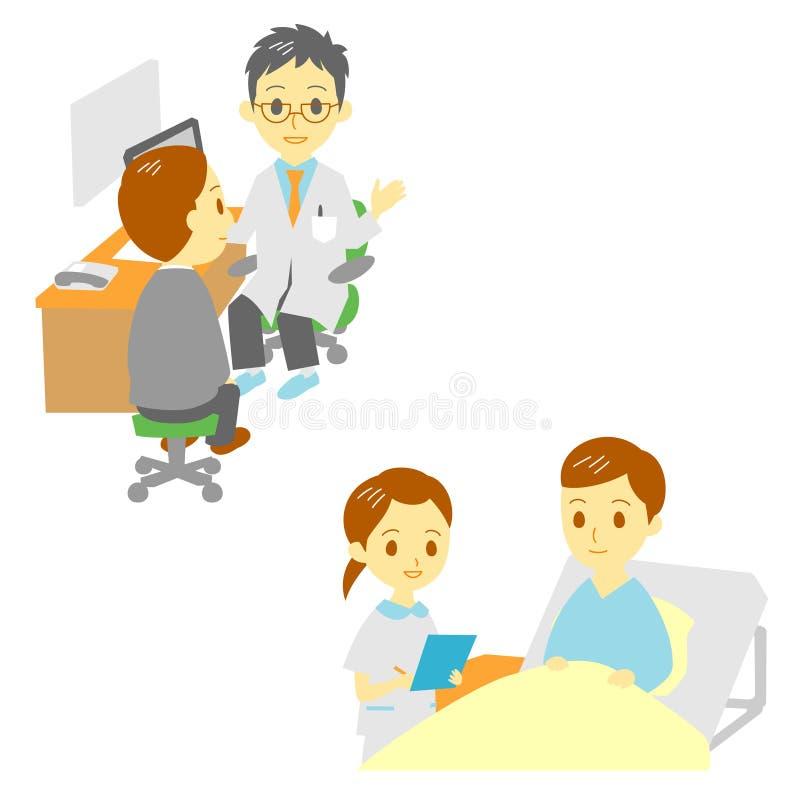 Vea a un doctor y en el hospital, hombre ilustración del vector