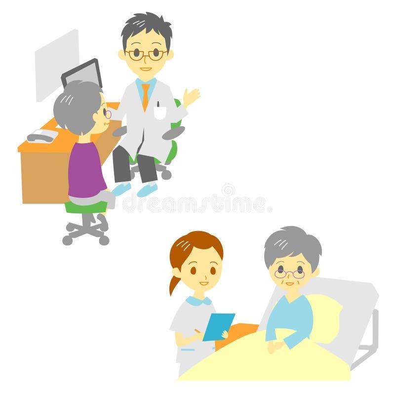 Vea a un doctor y en el hospital, mujer mayor stock de ilustración