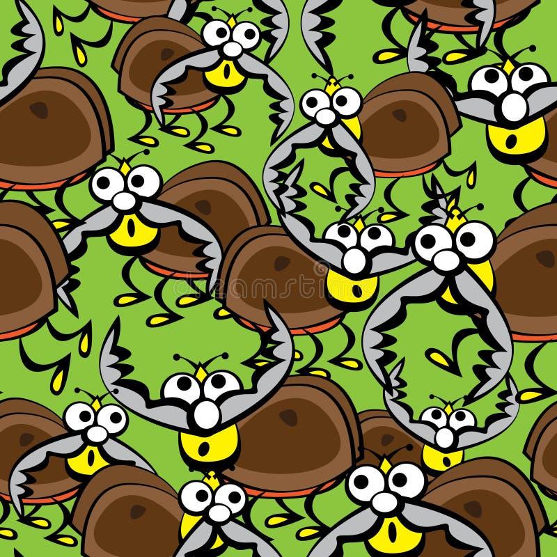 Veados dos besouros do teste padrão sem emenda ilustração stock