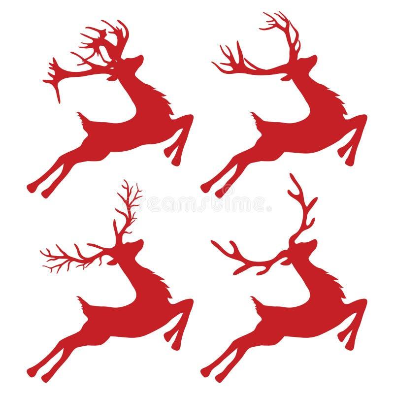 Veados vermelhos do Natal Ilustração do ícone isolada no fundo branco Natal ilustração royalty free
