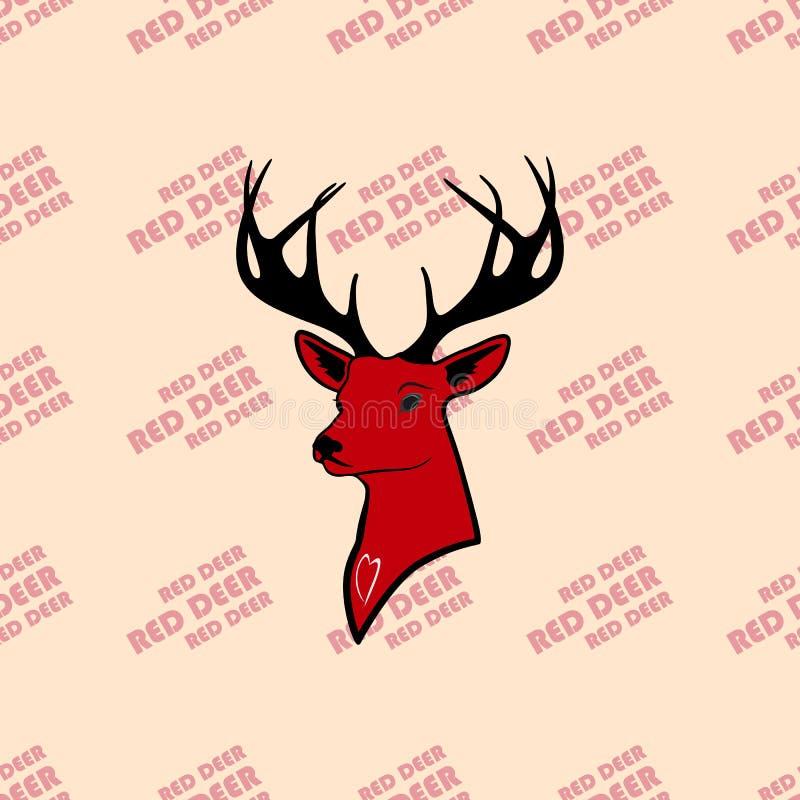 Veados vermelhos e animais selvagens nas mãos de bons povos Natureza do amor ilustração royalty free
