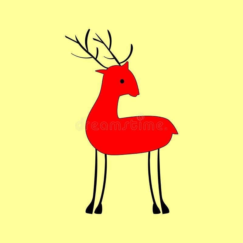 Veados vermelhos no estilo étnico ilustração royalty free