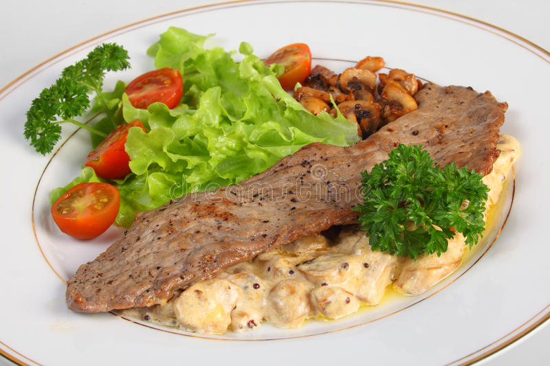 Veal escalope and mushrooms in cream sauce stock image