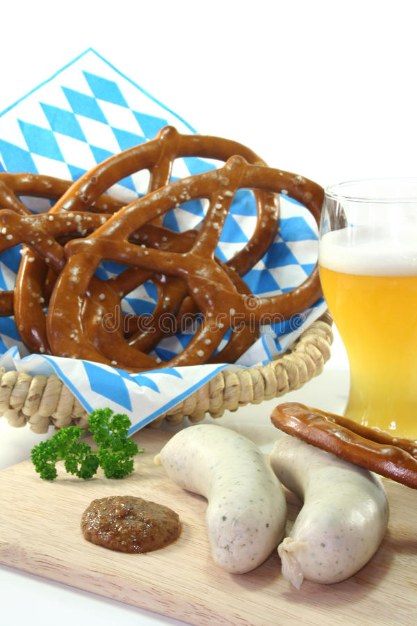Veal sausage. With sweet mustard and pretzels stock photo