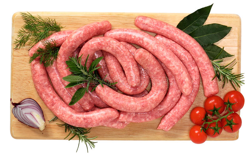 Veal sausage with chicken stock image