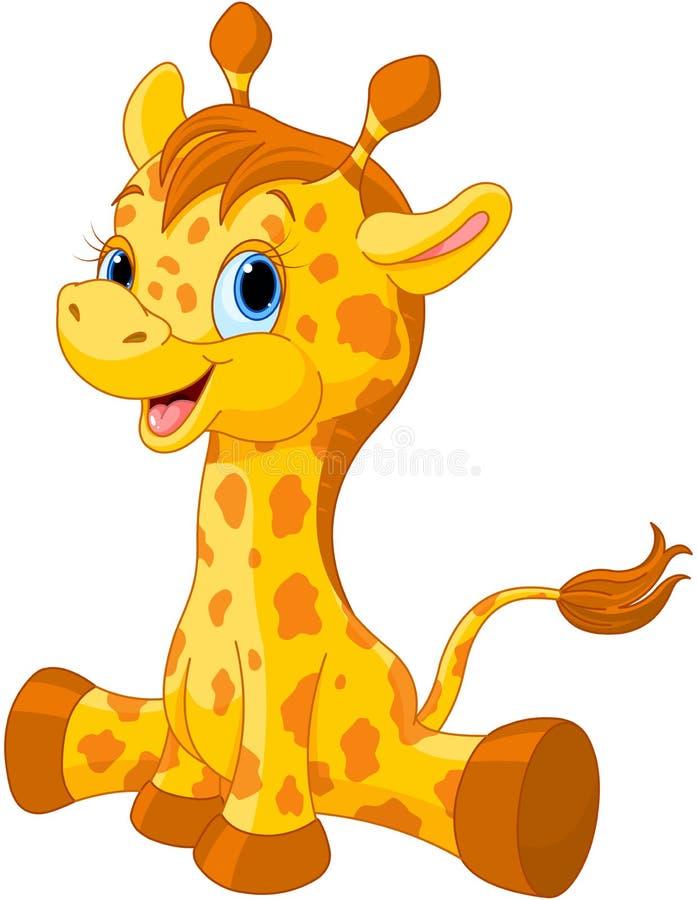 Veau mignon de girafe illustration libre de droits