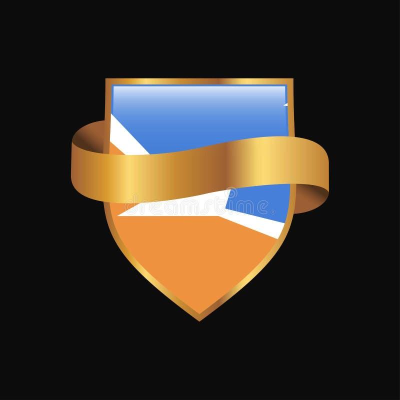Vec dorato di progettazione del distintivo della bandiera dell'Argentina della provincia di Tierra del Fuego illustrazione di stock