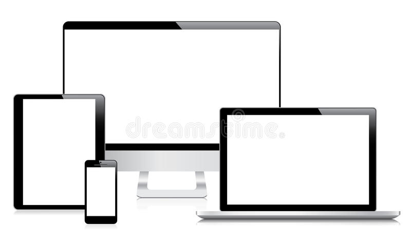 Vec moderne d'ordinateur, d'ordinateur portable, de comprimé et de smartphone illustration de vecteur
