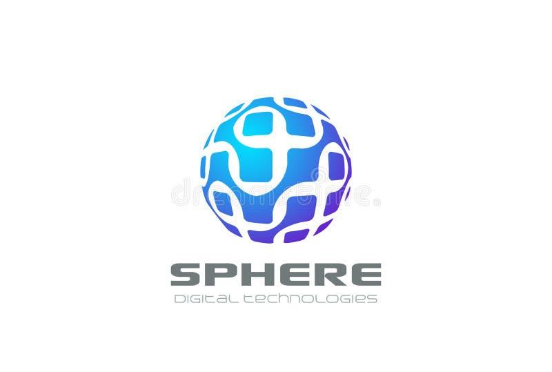 Vec molecular do sumário do logotipo da esfera da eletrônica do ADN ilustração do vetor