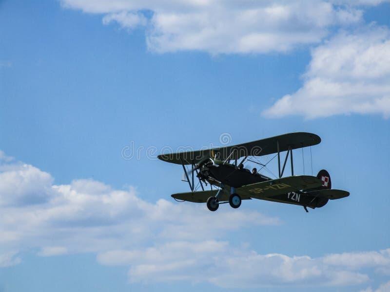 Vecchi aerei WSK-Okecie CSS-13 del pistone del biplano durante l'esposizione in Goraszka fotografia stock
