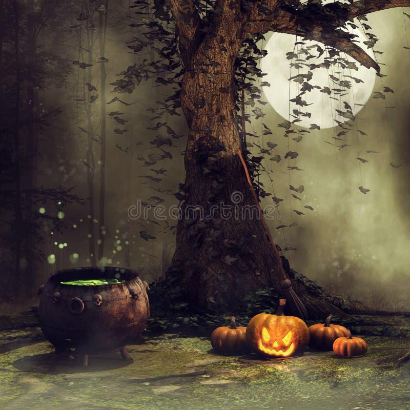 Vecchi albero, zucche e calderone illustrazione di stock