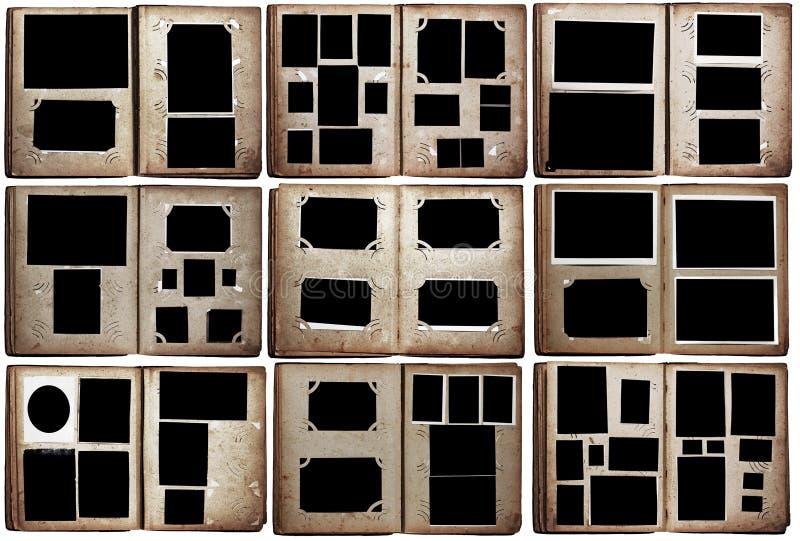 Vecchi album di foto impostati immagini stock libere da diritti