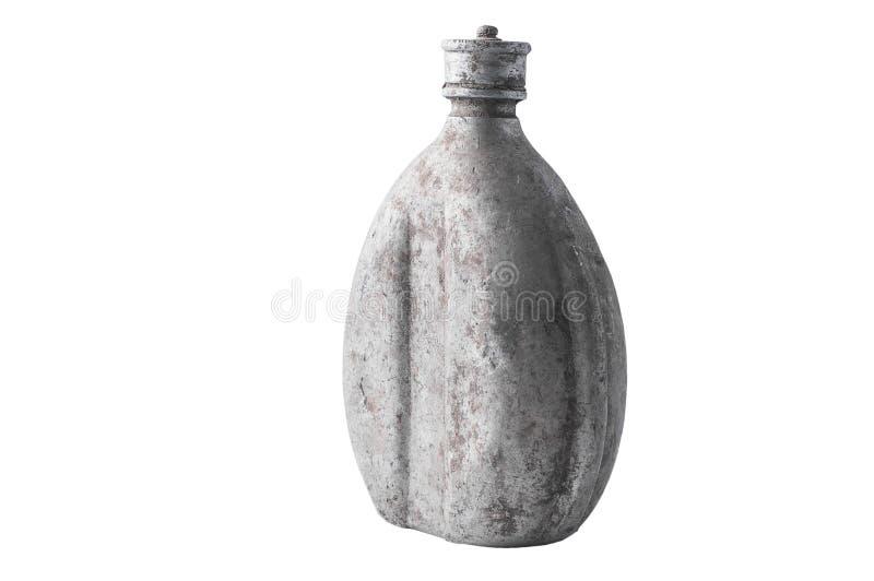 Vecchi alimento della boccetta e contenitori di stoccaggio sporchi militari della bevanda, isolato immagini stock libere da diritti
