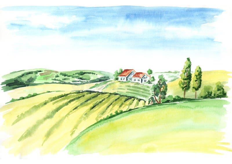 Vecchi azienda agricola e campi in campagna Illustrazione disegnata a mano dell'acquerello illustrazione vettoriale